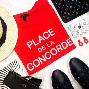 J. Crew Red 'Place de la Concorde' Graphic Tee